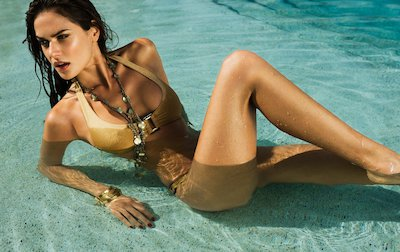 Editorial, Frontpage, Gold, Make Up, Red Lips, Skincare, Sun, Swimming pool, Swimwear