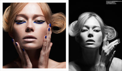 Editorial, Frontpage, B/W, Beauty, Black Make Up, Blue, Colour, Eyeliner, Gold, Red, Skin